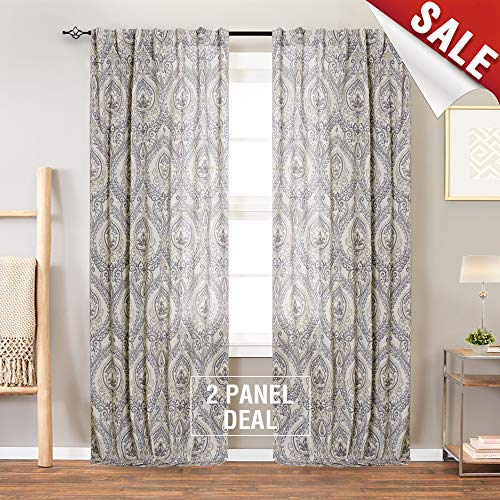Vintage Linen Curtains for Living Room with Multicolor Damask Printed Drapes for Bedroom Medallion Curtain Sets for Windows Patio Door (2 Panels, 84 Inch, Blue)