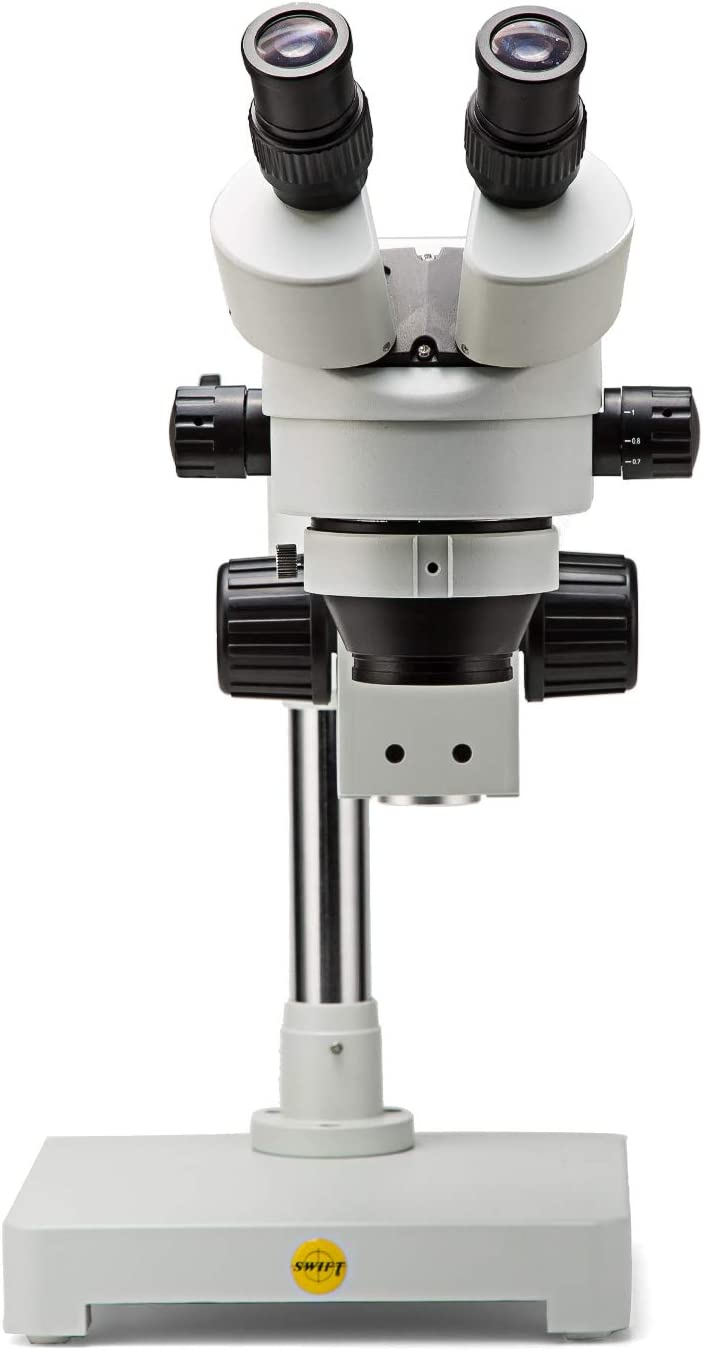 56-Bulb LED Ring Light 0.7X-4.5X Objective Power WF10X Eyepieces 0.5X and 1X Additional Objective Lenses Single-Arm Boom Stand Swift S7 7X-45X Binocular Stereo Dissection Microscope