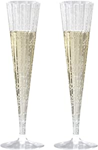 Toasted Drinkware Premium Hard Plastic Clear Two Piece 5 oz Champagne Flutes (20 Count)