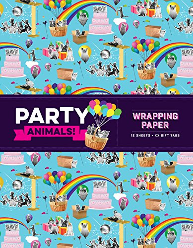 Party Animals! Wrapping Paper: 12 sheets + 24 gift tags!