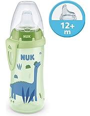 NUK Active Cup Trinklernflasche, mit Soft-Trinktülle aus Silikon, 300ml, auslaufsicher, mit Clip, 12+ Monate, BPA-frei, Dino (grün)
