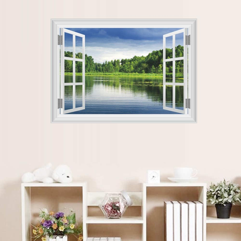 BIBITIME 3D Forest Wetland Lake Fake Window Wall Decal Green Tree Blue Sky White Clouds Nature Scenery View Vinyl Decal for Couple Bedroom Kitchen Kids Room Decor Mural
