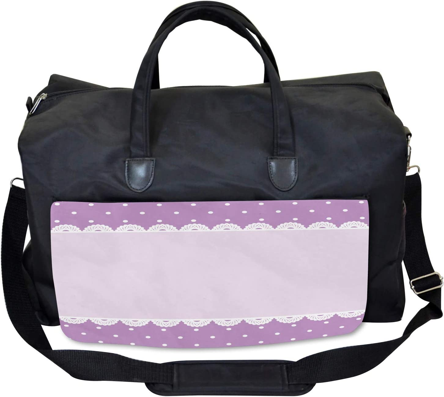 Large Weekender Carry-on Ambesonne Mauve Gym Bag Old Lace Patterns Polka
