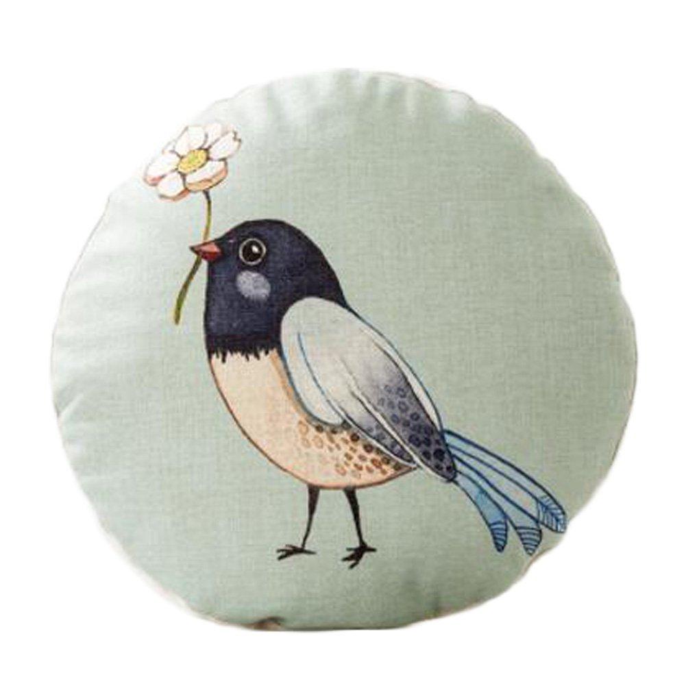 Cute Animal Pattern Sofa Round Cushion Circular Chair Cushion Pillow Seat Pad, F