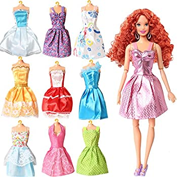 Rainbow Handmade Dresses for Barbie Doll, Pack of 9