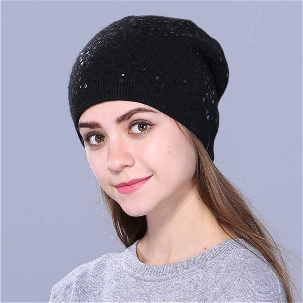 Coffee Goldweather Women Winter Beanie Hats Ladies Soft Sequin Knitted Thick Slouchy Chunky Baggy Hat Cable Knit Wool Warm Beanie Ski Cap