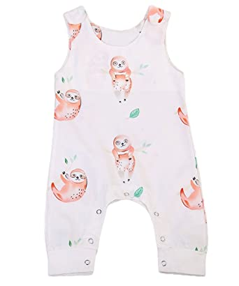 dfc0afd406f9 Amazon.com  Greenafter Summer Baby Boys Girls Sloth Printed Sleeveless  Romper One-Piece Bodysuit Jumpsuit Outfits  Clothing