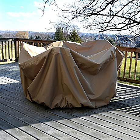 Island Umbrella NU5542 All Weather Protective Cover For 48 Round Table Chairs With Umbrella Hole