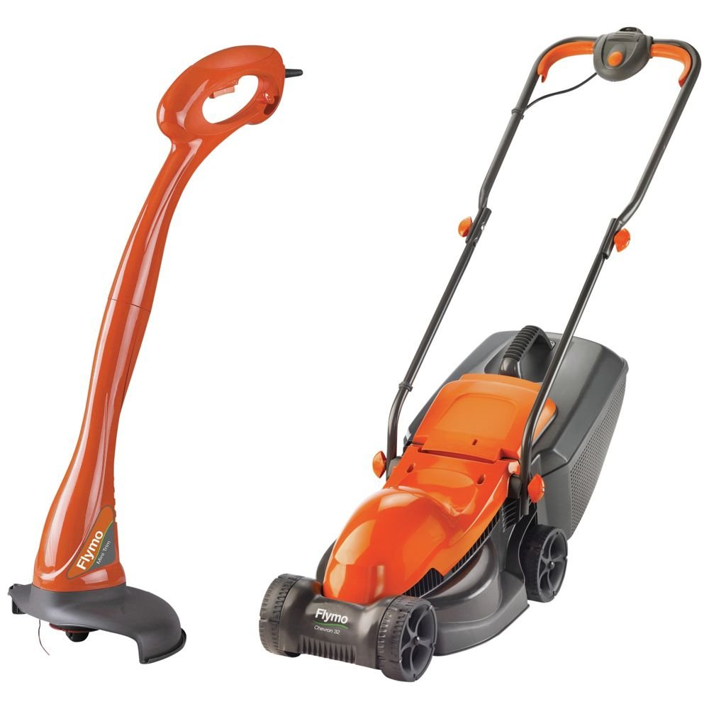 Flymo Corded 1000W Lawnmower and 230W Grass Trimmer