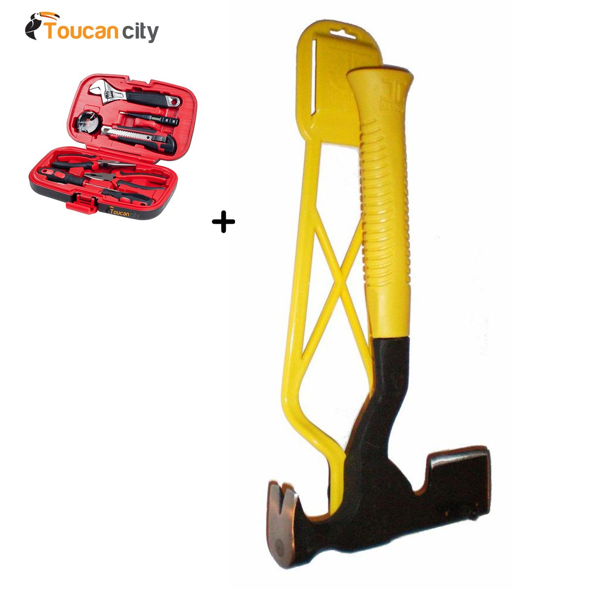 JC Hammer Magnetic Hatchet with Easy Holder EW0045 and Toucan City Tool kit (9-Piece)