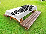 Ambesonne Safari Outdoor Tablecloth, Illustration of Africa Continent Map as Animal Skin Wilderness Species Print, Decorative Washable Picnic Table Cloth, 58 X 84 inches, Black and White