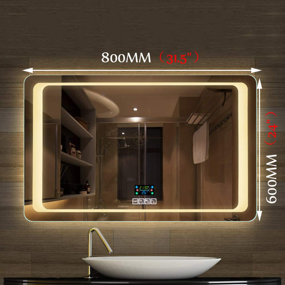 Bathroom mirror 600/×800MM Modern Illuminated LED Bluetooth Call Electronic defogger Bluetooth Speaker HD Vanity Mirror Shaving Mirror Rectangular Mirror Built-in Temperature Time Display