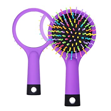 Rainbow Portable Detangling Hair Brush With Mirror for Wet Or Dry Hair - for Kids or