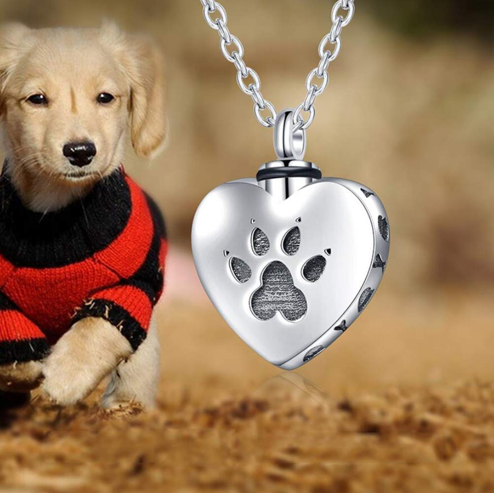 Boyishengshi Pet Commemorative Jewelry urn Box Necklace Silver Heart Shaped Dog paw Print can be Opened