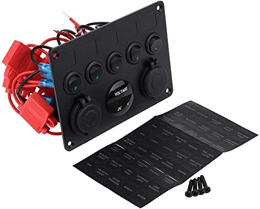 Panel de interruptores de encendido//apagado de 12-24V 5 pandillas Volt/ímetros duales USB para embarcaci/ón de barcos 绿光