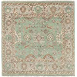 """Ecarpetgallery Hand-knotted Royal Ushak Open Field 6'11"""" x 7'0"""" Green 100% Wool area rug"""