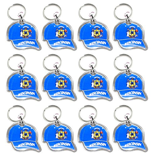 Lot of 12 - Key Ring with Acrylic Fob - Wisconsin State Seal On Ball Cap Keychain.