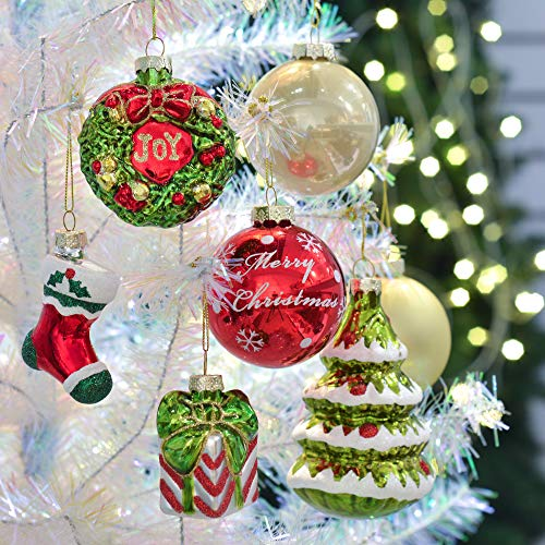 Teresas Collections 12ct Country Road Glass Blown Christmas Ball Ornaments Red Green and Gold,2.36inch-4.72inch,Themed with Tree Skirt(Not Included)
