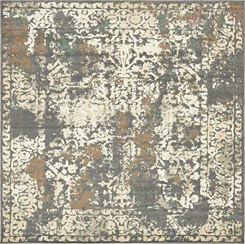 Unique Loom Tuareg Collection Vintage Distressed Traditional Gray Square Rug (8' x 8') (Rug Gray Square)