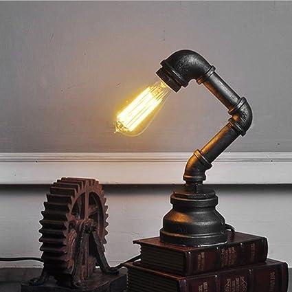 Glighone Lámpara de Mesa Luz de Tubo Lámpara Vintage 60W Lámpara Antigua Luz Industrial y Rústica Edison Casquillo E27 Lámpara Sujetada para ...
