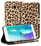 Galaxy S6 Edge Plus Case, Fosmon CADDY-LEOPARD Leather Stand Flip Cover Case with Card Pocket Slots for Samsung Galaxy S6 Edge Plus - Brown