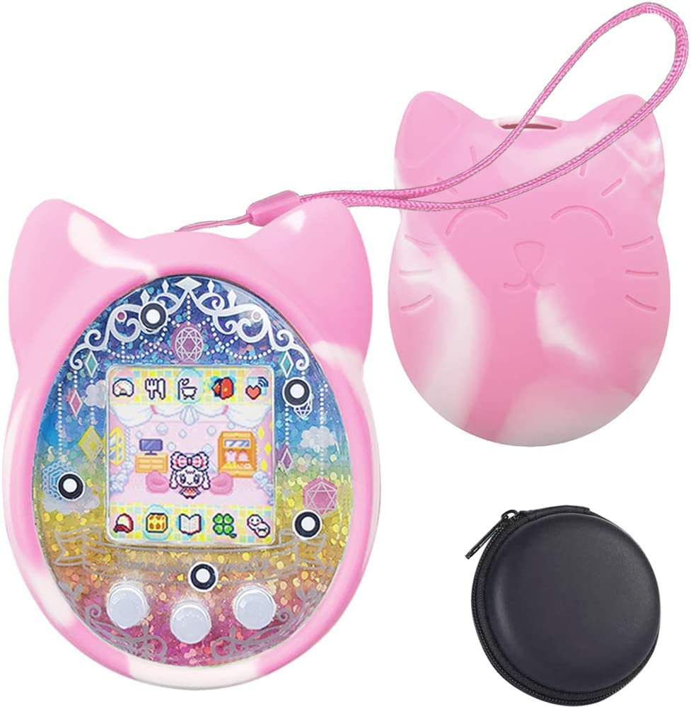 1 Perpetual Deals Tamagotchi Silicone Protective Cover, Protective Sleeve Shell for Tamagotchi On 4u 4U+ PS m!x iDL iD and Meets , with Hand Strap and Hard Carrying Case