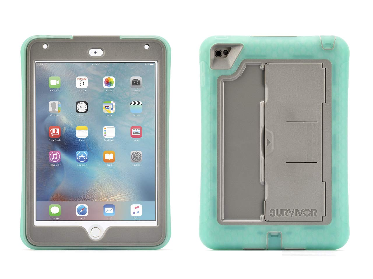 free shipping 2fbe1 ad136 Griffin iPad Mini 4 Case with Built-in Stand, Green and Grey Survivor Slim,  [Slim] [Protective] [Shock Absorption] [Built-in Screen Protection] ...