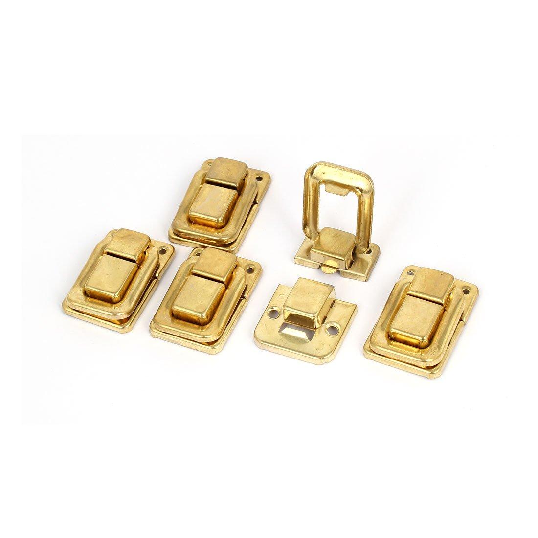 sourcingmap® Bolsas caja de madera caja de hierro Palanca Pestillo bloqueo El cerrojo de bloqueo de oro color brillante Longitud 5pcs tono 38mm a16080900ux0431