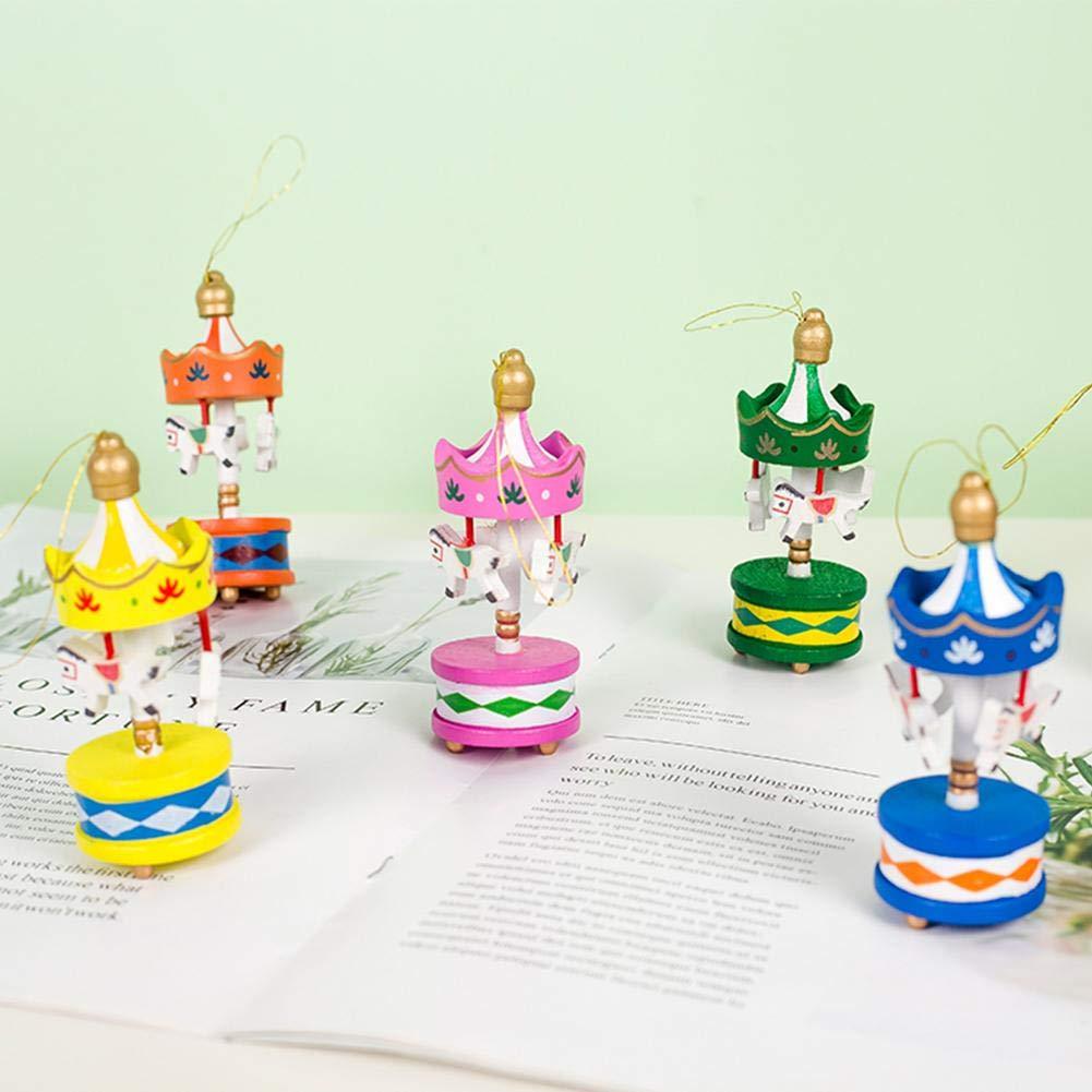 Mini Pendente A Sospensione A Forma di Giostra Decorazione Natalizia in Legno per Il Compleanno di Natale Decorazione A Forma di Giostra