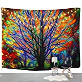 BLEUM CADE Colorful Tree Tapestry Wall Hanging Psychedelic Forest with Birds Wall Tapestry Bohemian Mandala Hippie...