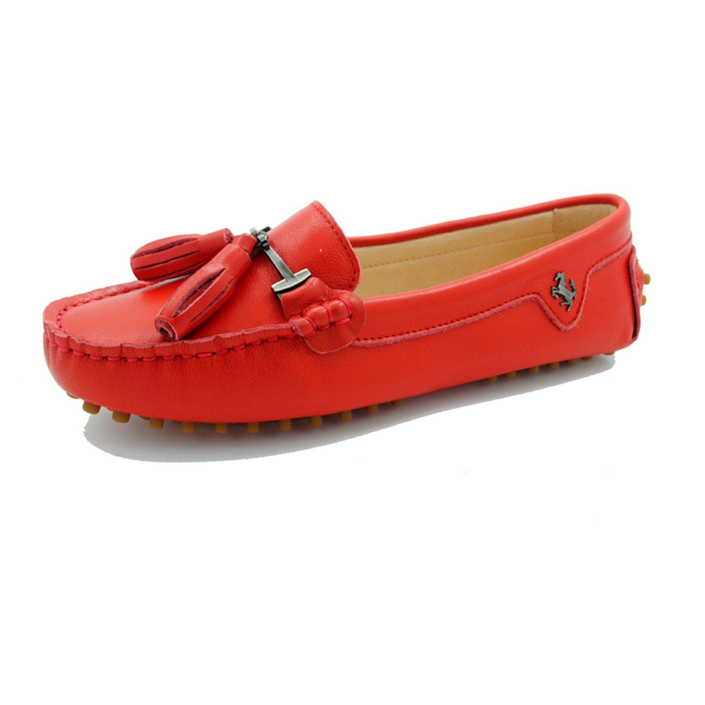 Minitoo ,  Damen Durchgängies Plateau Sandalen mit Keilabsatz  36.5 EU Leather-Red