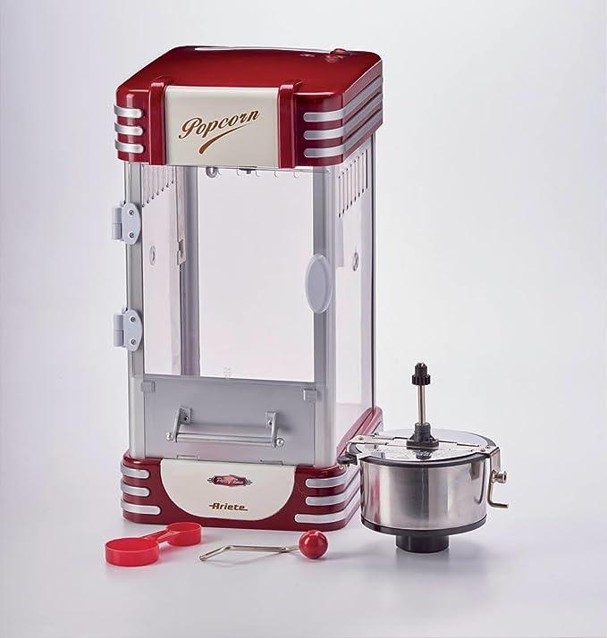 Ariete Party Time Máquina de palomitas XL, 310 W, 2.4 l, Inoxidable/Plastico, Rojo, Color blanco