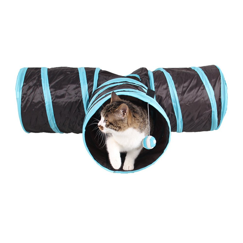 Asltoy Pet Cat Tunnel Collapsible 3 Way Play Toy With Peek Hole,Bell,Plush Ball& Crackle Paper Tube Fun for Rabbit,Kitten,Puppy Chute Cat Toy (Blue)