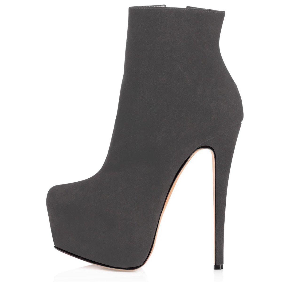 ELASHE Ankle Boots   15cmTrendige Damen Stiefeletten   Plateau Stiefel mit Absatz43 EU Grau