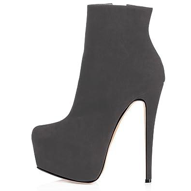 ELASHE Moda Zapatos de Botines 6 Inch Clásicos de Tacón Botas para ...