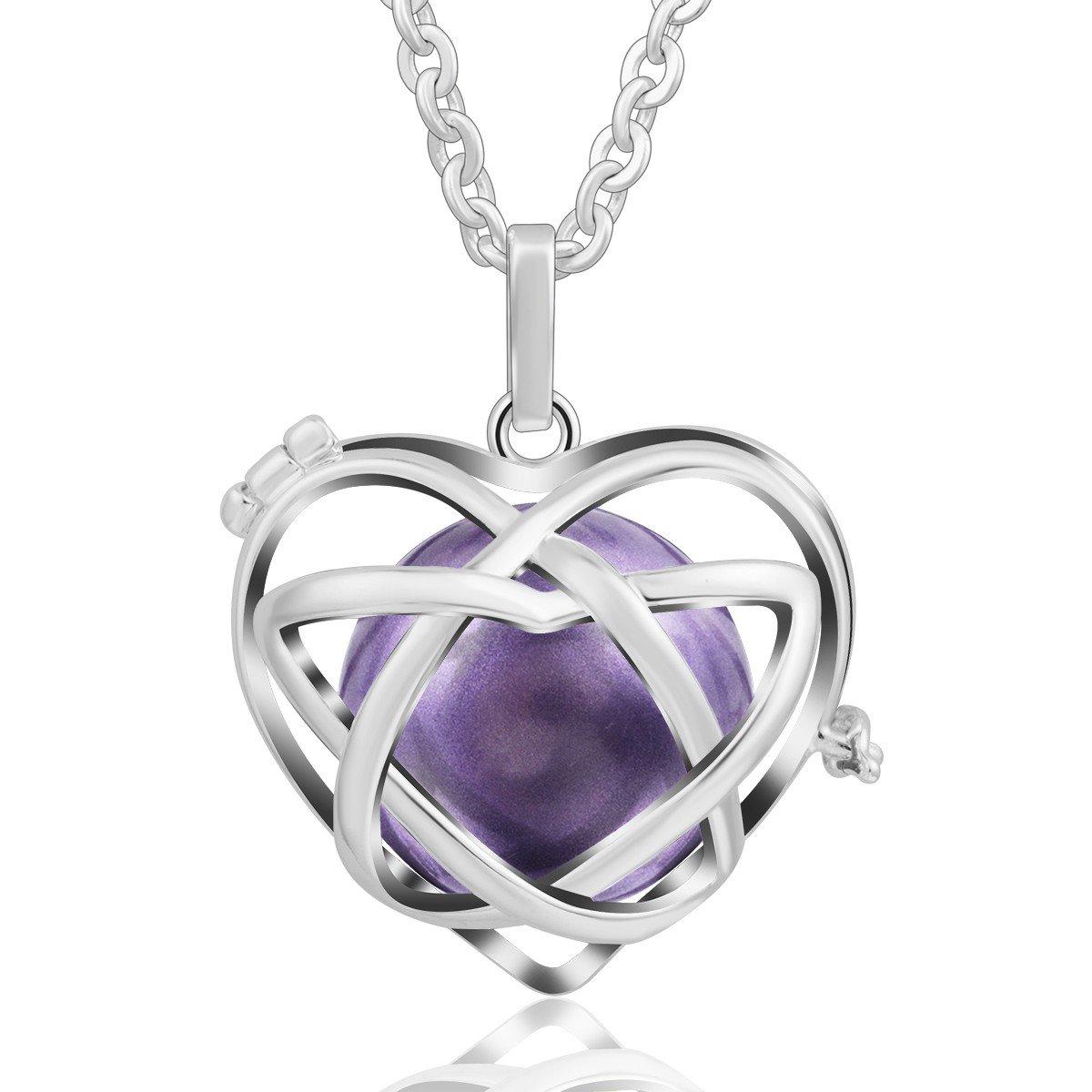 EUDORA Harmony Ball Necklace Unicursal Hexagram Music Chime Gift to Mom Baby Shower Gift, 30'' Chain Lavender