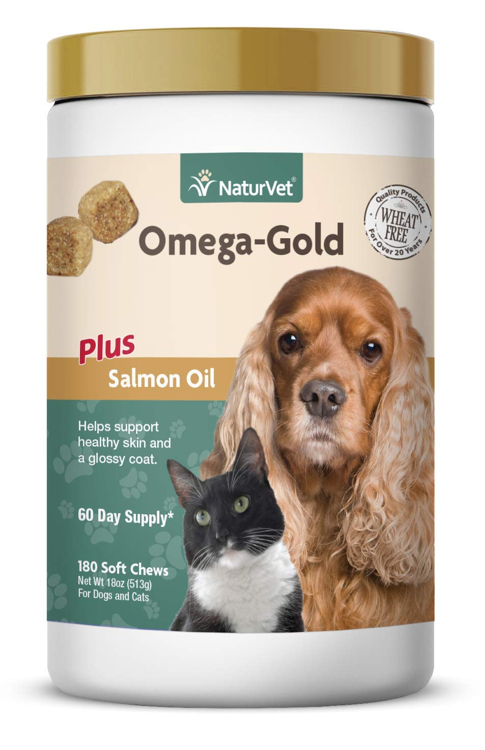 NaturVet – Omega-Gold Plus Salmon Oil – Supports Healthy Skin & Glossy Coat – Enhanced with DHA, EPA, Omega-3 & Omega-6 – for Dogs & Cats – 180 Soft Chews