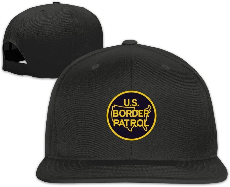 Border Patrol Logo Flat Brim Gorra de b/éisbol Cotton Black Hittings U.S