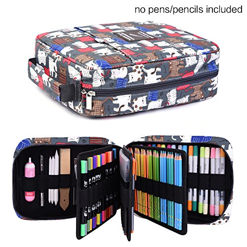 202 Colored Pencils Pencil Case / 136 color gel pens Pen Bag / Marker organizer - Universal Artist use Supply School Zippered Large Capacity Slot Super Big Professional Storage qianshan Cats