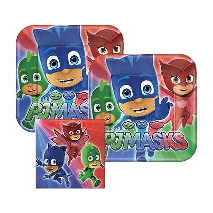 PJ Masks Paper Plates and Napkins, 16 Settings, Bundle- 3 Items