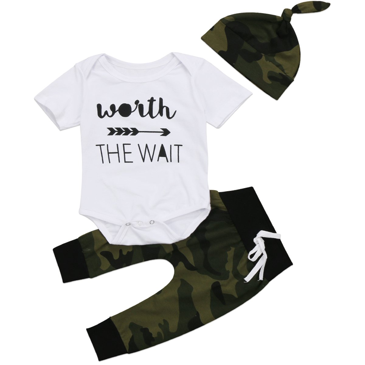 Baby Boys Clothing Sets, 3pcs Newborn Baby Boy Letter Print Romper Tops+Long Pants Hat Outfits Clothes