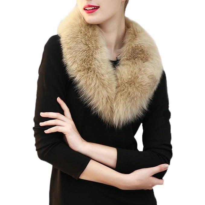 hjuns - Juego de la mujer piel sintética cuello bufanda calentador de cuello para abrigo de invierno: Amazon.es: Ropa y accesorios