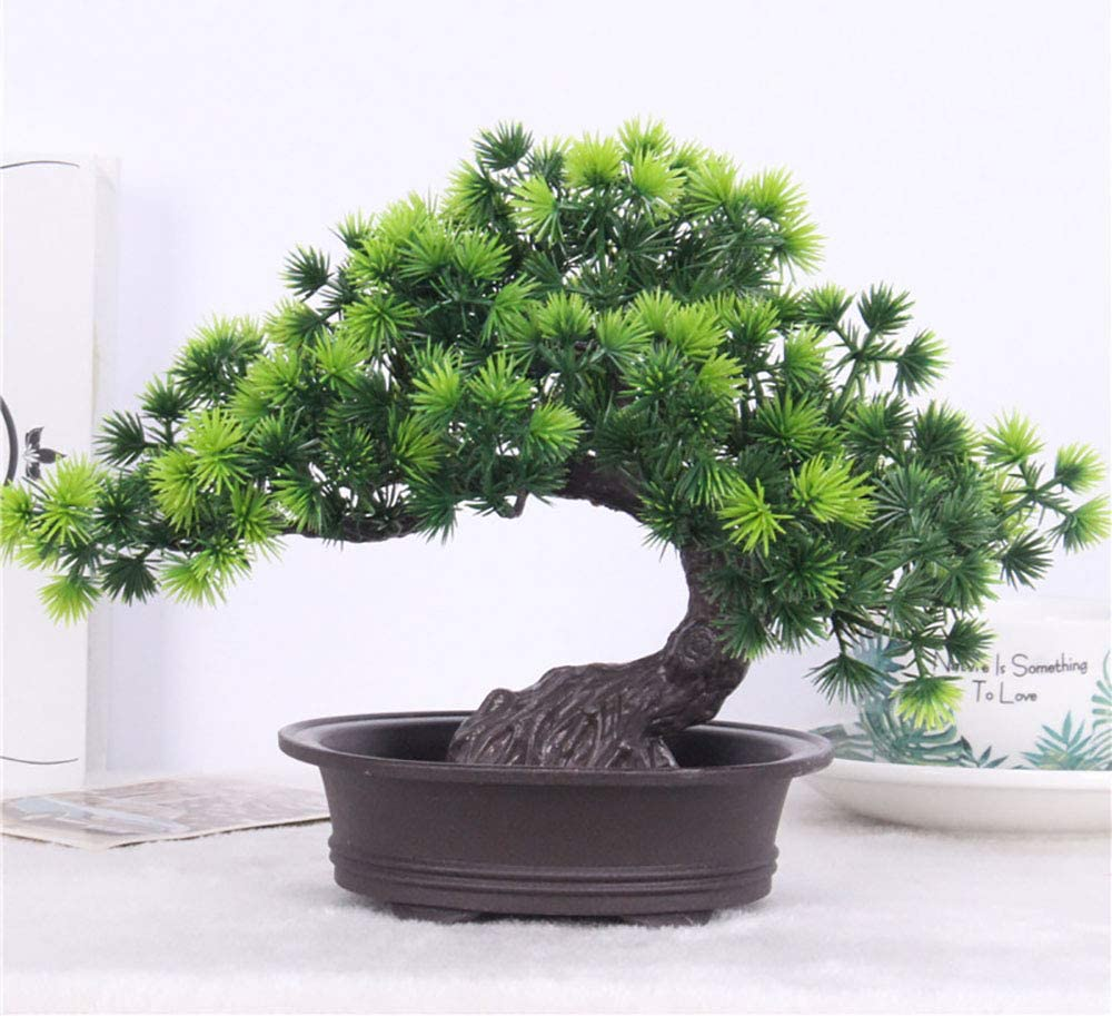 Amazon Com Artificial Plants Bonsai Welcoming Pine Tree Pot Desk Display Simulation Fake Tree Ornaments Mini Bonsai Tree Pot Plants Vivid Potted Artificial House Plants Living Room Garden Decoration Party Decor Home