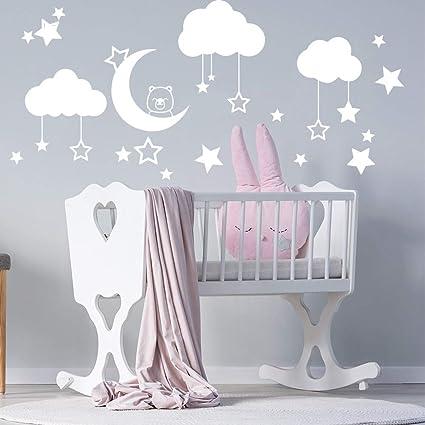 Mural Lune avec ours endormi et Nuages Sticker Chambre Enfant