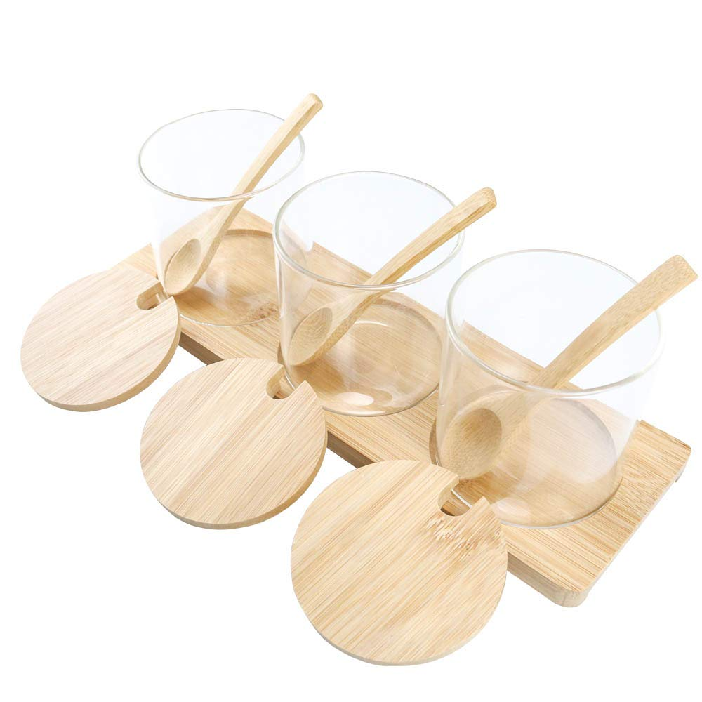 Clear Condiment Jar, Glass Spice Container with Bamboo Lids Spoons Holder, 11oz Kitchen Seasoning Box Set of 3 for Home, Kitchen, Counter By HTB