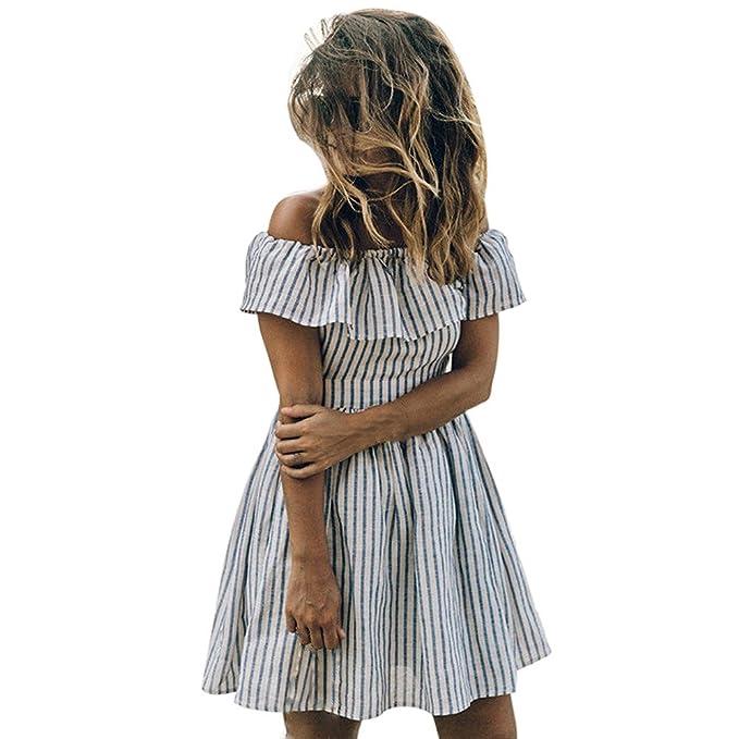 vestidos de mujer,Switchali Mujer rayas casual Tutú vestido moda escotado por detrás mini Vestido