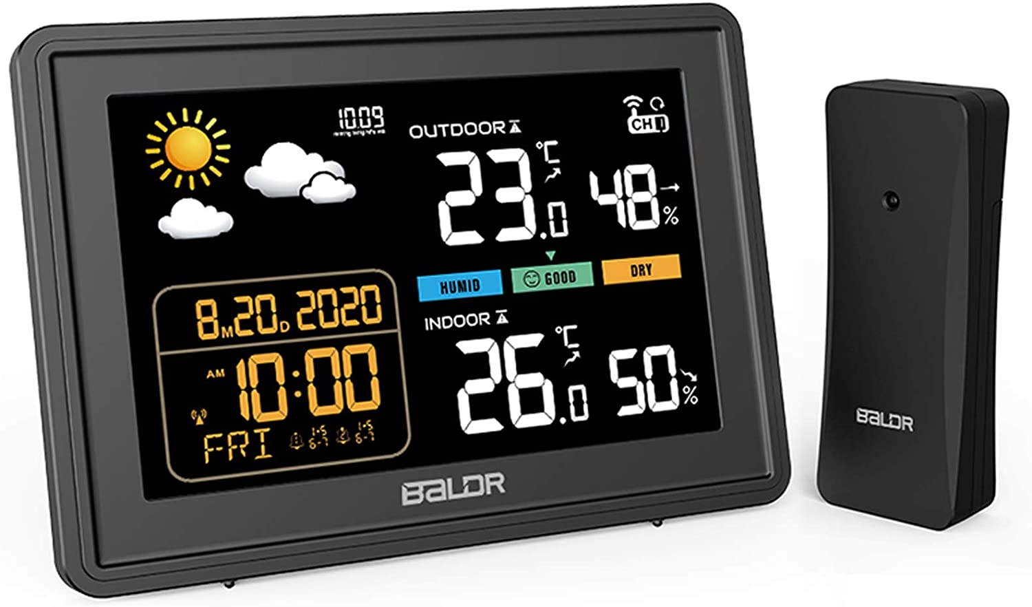 BALDR Weather Station, Wireless Indoor Outdoor Colorful Display Home Thermometer Hygrometer with Sensors and 5 Level Adjustable Backlight Humidity Monitor Weather Forecast Alarm Clock