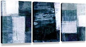 Bolant Decor 3 Pieces Canvas Wall Art-Gray Blue Abstract Art Painting-Modern Canvas Artwork Wall Decor Ready to Hang 12''x16'', 3 Pieces