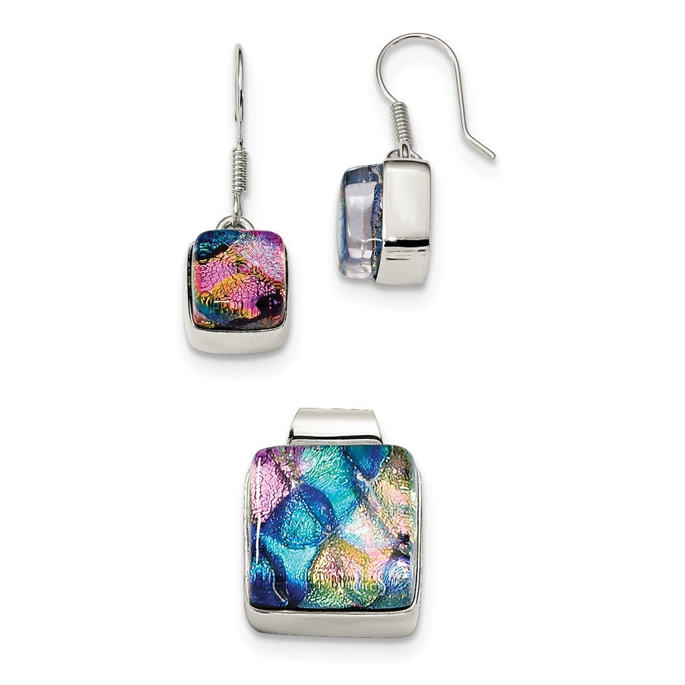 Sterling Silver Pink & Blue Dichroic Glass Square Earrings & Pendant Set