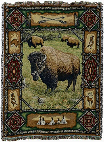 Pure Country Weavers - Buffalo Lodge Cabin Hunting Decor Woven Tapestry Throw Blanket with Fringe Cotton USA Size 72 x 54